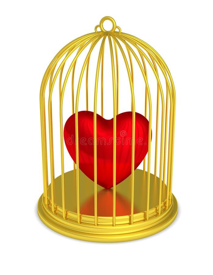 Cage à oiseaux d'or avec le coeur emprisonné illustration stock