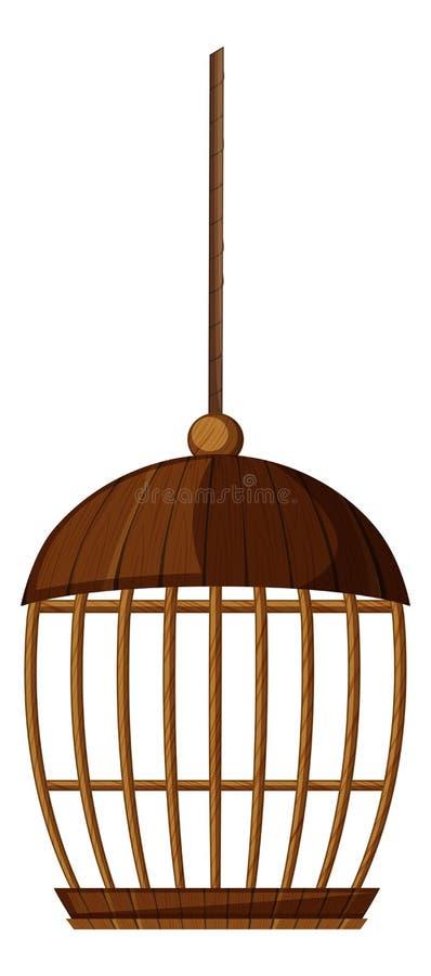 Cage à oiseaux faite de bois illustration libre de droits