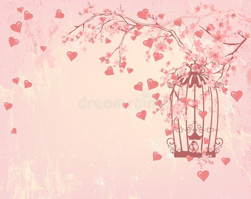 Cage à oiseaux parmi des coeurs, des fleurs roses et des branches d'arbre illustration libre de droits