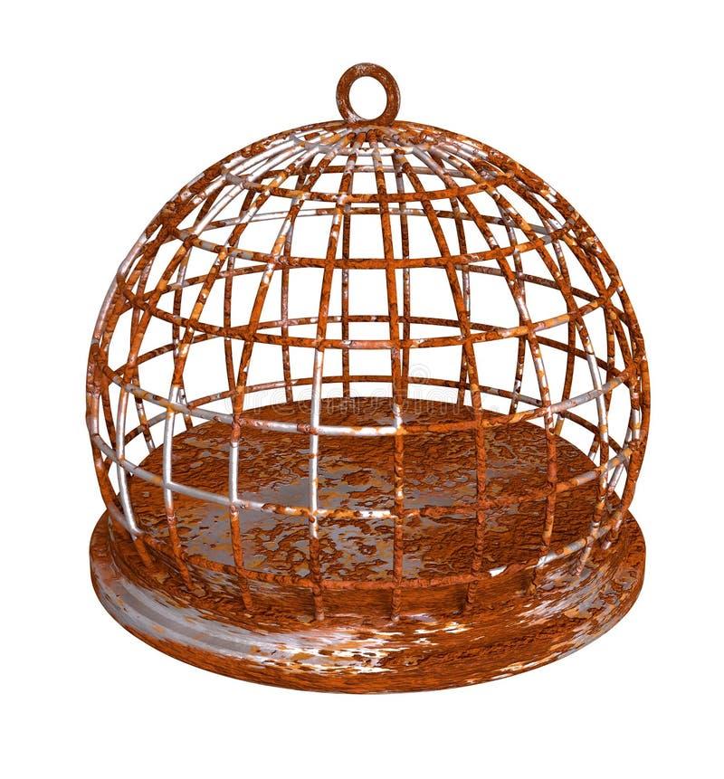 Cage à oiseaux rouillée se rouillant autour de la prison illustration de vecteur