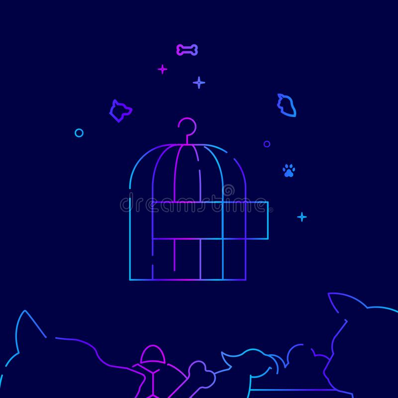 Cage for Birds, Birdcage Vector Line Icon, Illustration on a Dark Blue Background. Related Bottom Border royalty free illustration
