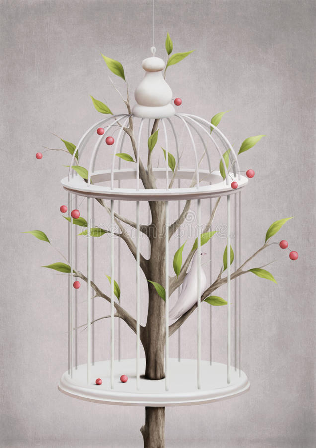 Cage with a cherry tree vector illustration