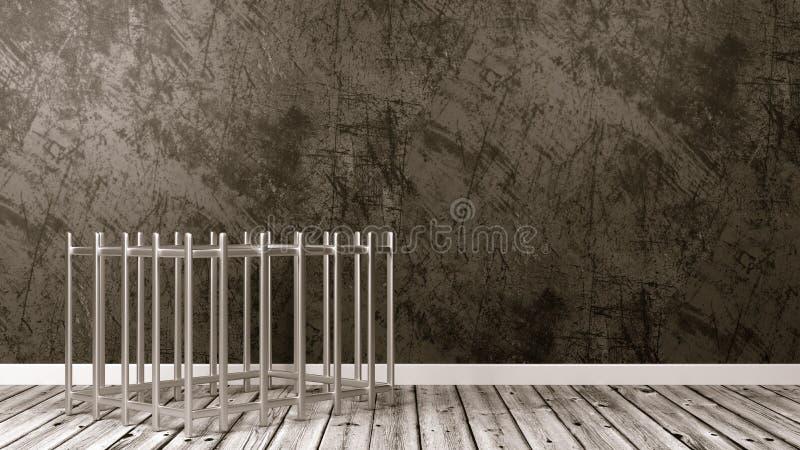 Cage de fer dans la chambre illustration stock