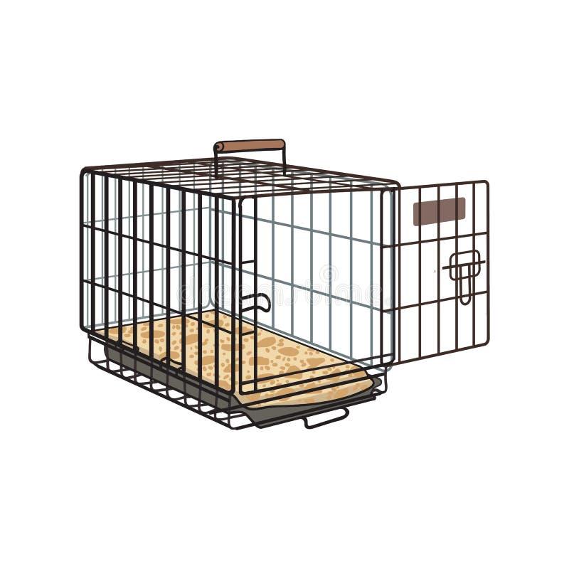 Cage de fil en métal, caisse pour l'animal familier, chat, transport de chien illustration de vecteur