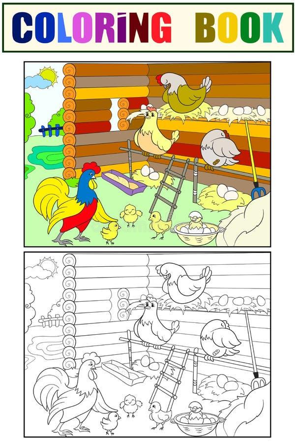 Cage de poulet L'intérieur et la vie des oiseaux dans la coloration de cage de poulet pour la bande dessinée d'enfants dirigent l illustration de vecteur