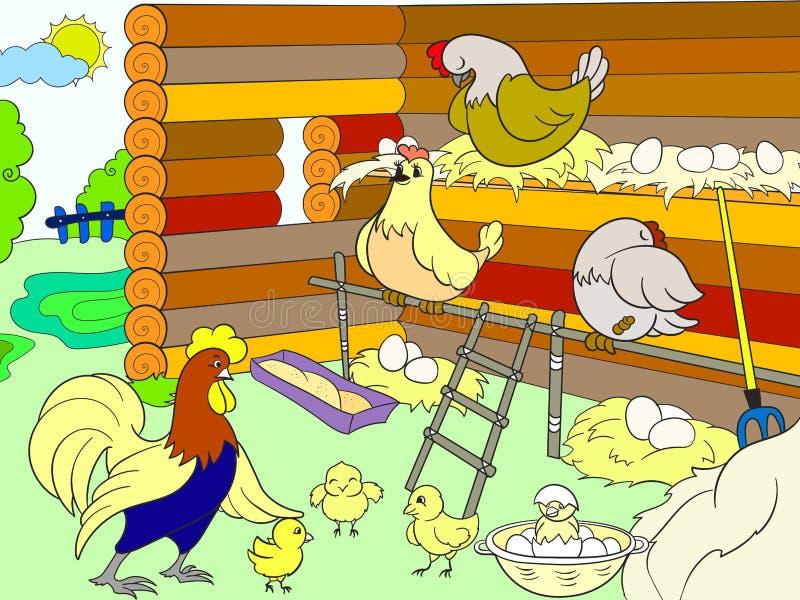 Cage de poulet L'intérieur et la vie des oiseaux dans la cage de poulet pour la bande dessinée d'enfants dirigent l'illustration illustration de vecteur