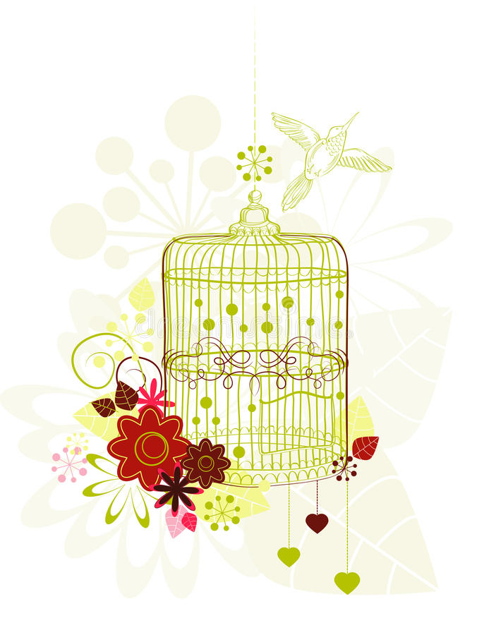 Download Cage With Flowers And Bird Stock Images - Image: 22861734