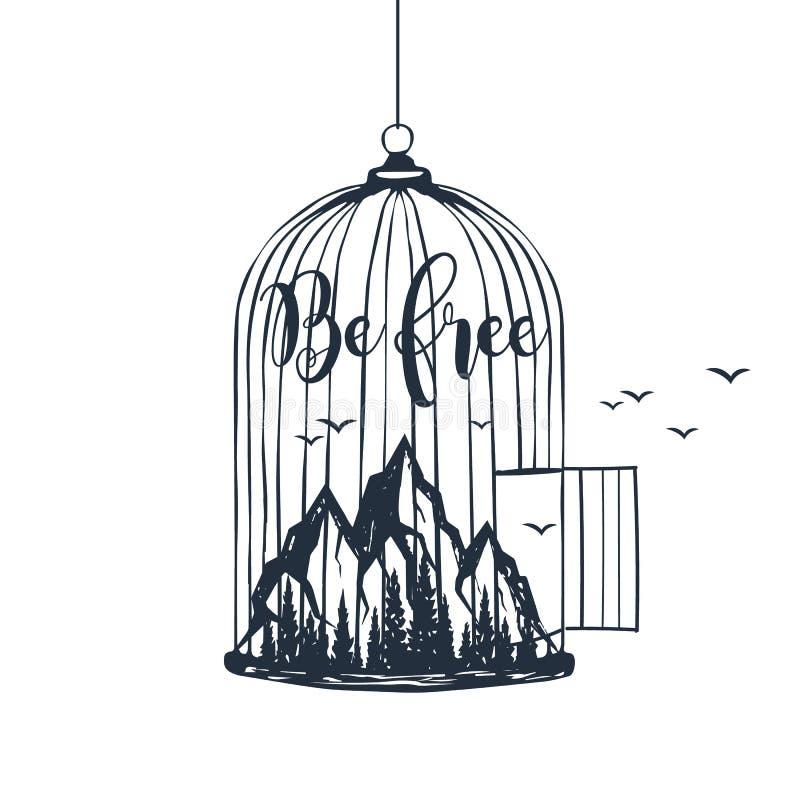 Cage tirée par la main avec l'illustration de vecteur de montagnes illustration stock