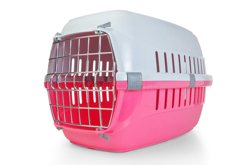 Cage for transporting pets, cats, dogs. With the door closed royalty free stock photo