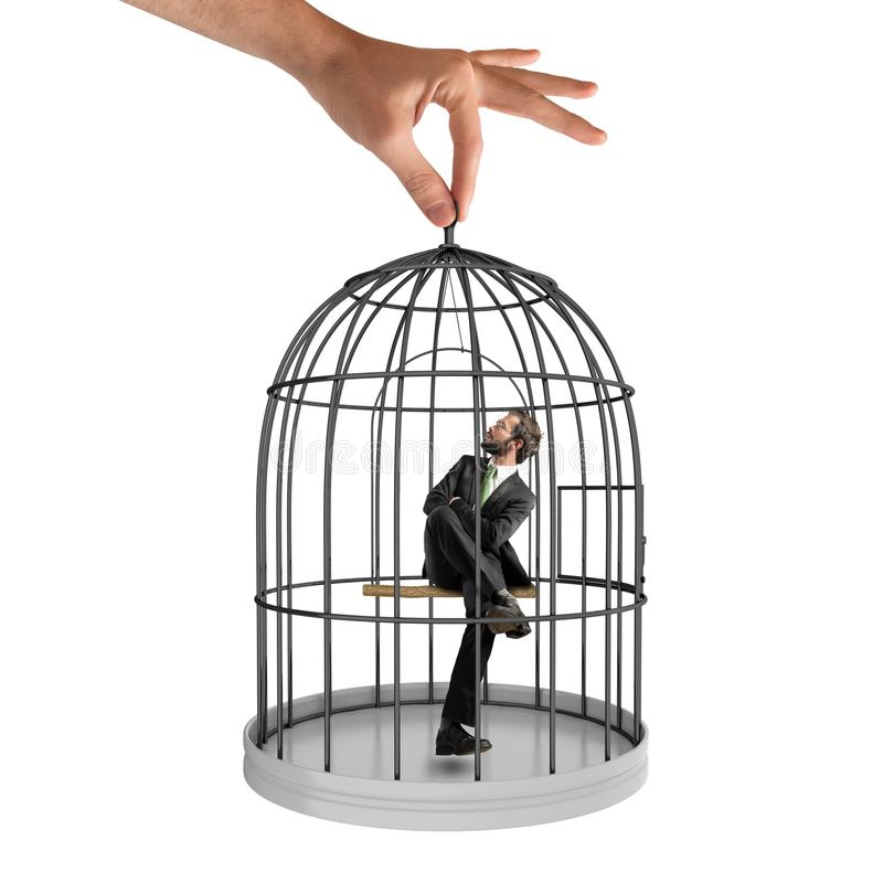 Free Caged Businessman Stock Images - 63574424