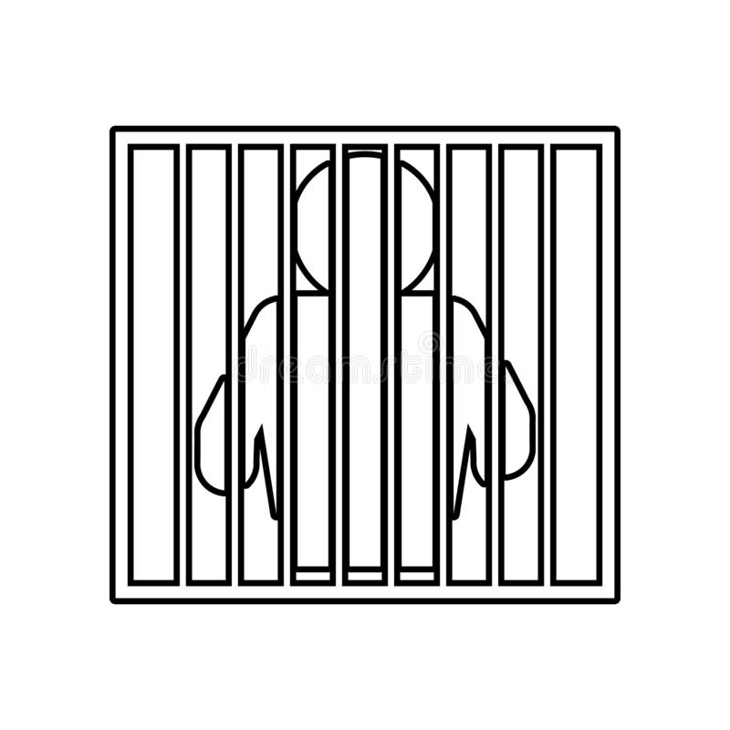 caged icon. Element of Police for mobile concept and web apps icon. Outline, thin line icon for website design and development, royalty free illustration