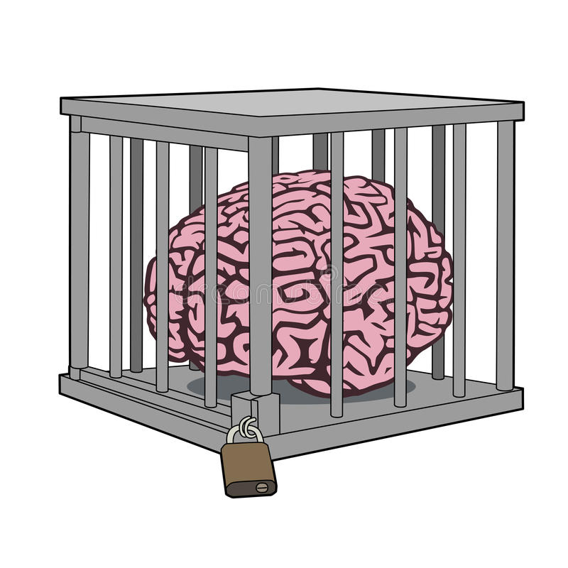 Caged mind vector illustration