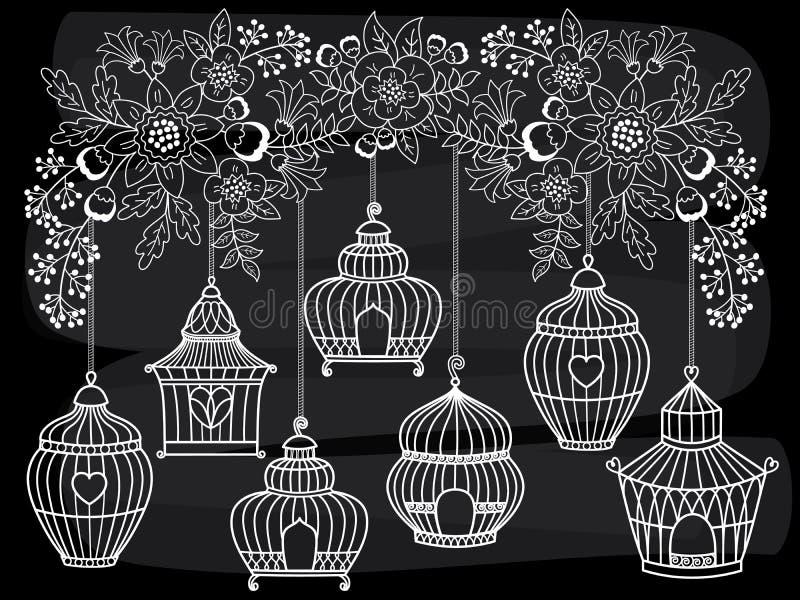 Cages à oiseaux de tableau de vecteur pendant de la branche de floraison illustration libre de droits