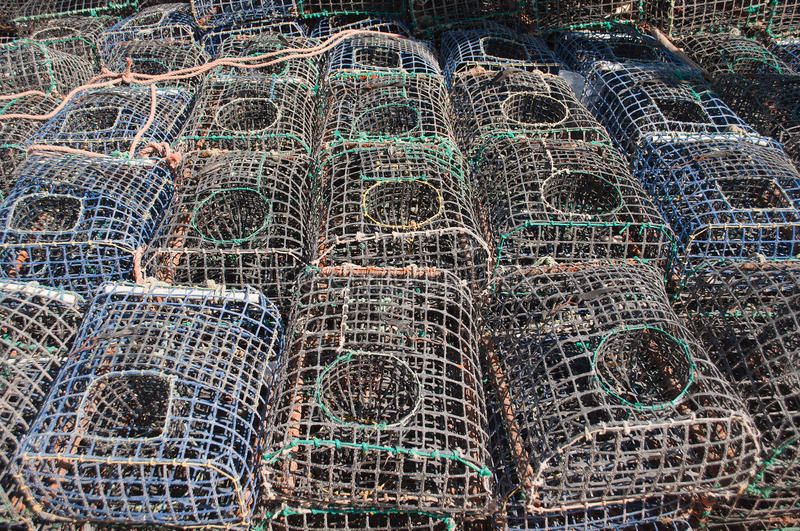 Cages for fishing seafood. Some cages for fishing seafood stock photography