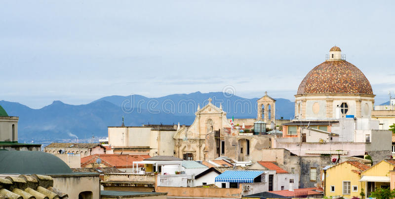 Cagliari. Glimpse of the historical center of Cagliari, in Sardinia stock photos