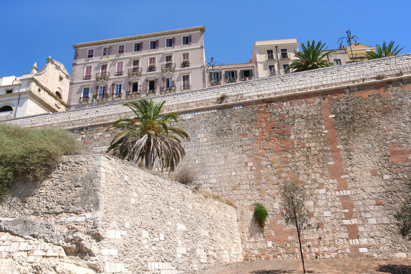 Cagliari. Ancient medieval city walls stock photography