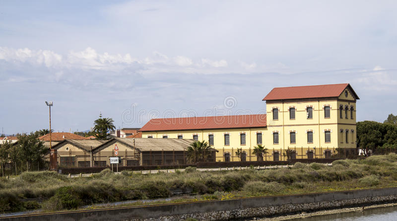 Cagliari: building chosen salts - Sardinia. The former building of the salts chosen, headquarters of the Directorate of Park Molentargius Saline, was used for royalty free stock images