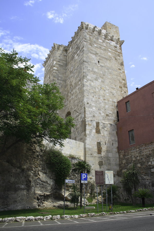 Cagliari, Castello with Torre di San Pancrazio royalty free stock photography