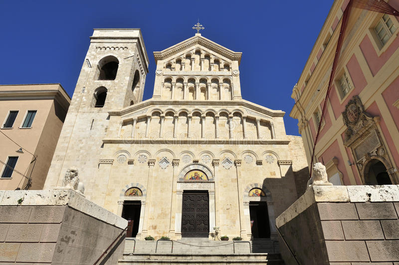 Cagliari Cathedral. Historical building of Cathedral of St. Mary and St. Cecilia in Cagliari town in Sardinia - Italy royalty free stock photos