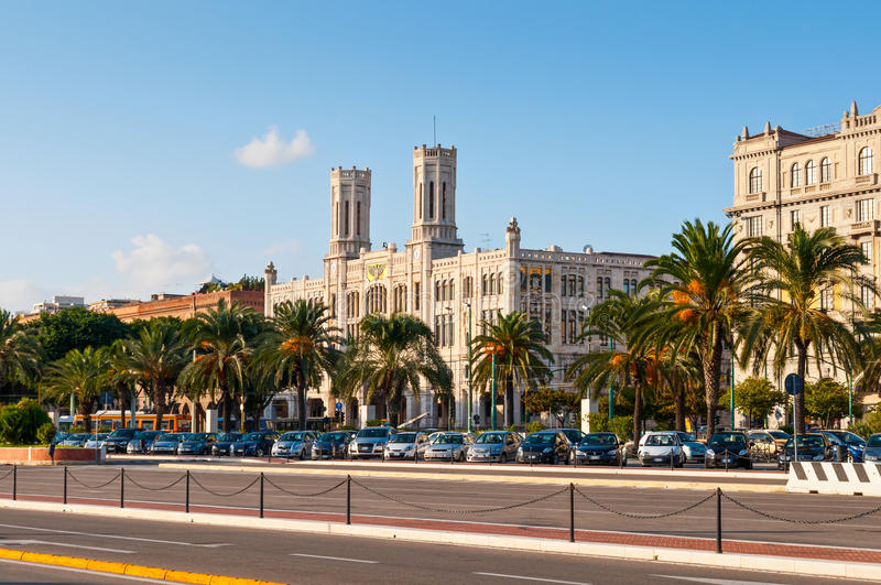 Cagliari City Hall. The City Hall of Cagliari (Palazzo Civico) was inaugurated in 1907 by Catalan-Gothic and Art Nouveau styles, Italy royalty free stock photo