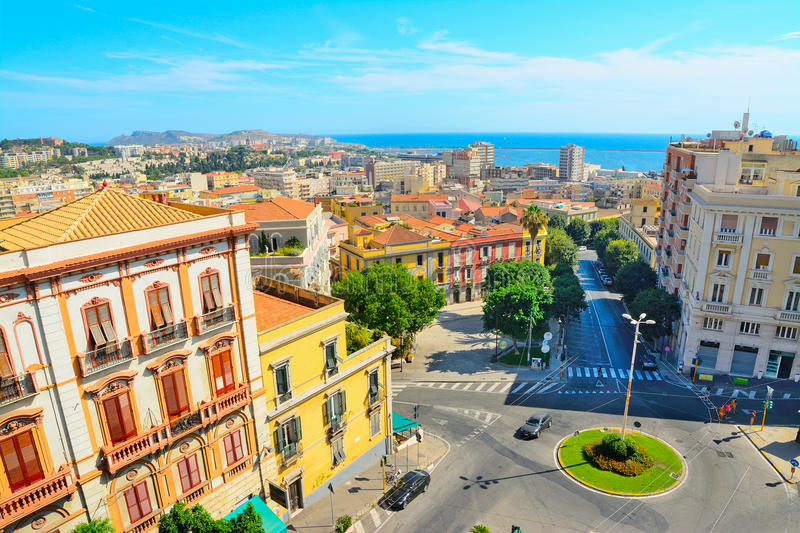 Cagliari cityscape on a clear day. Italy stock photography