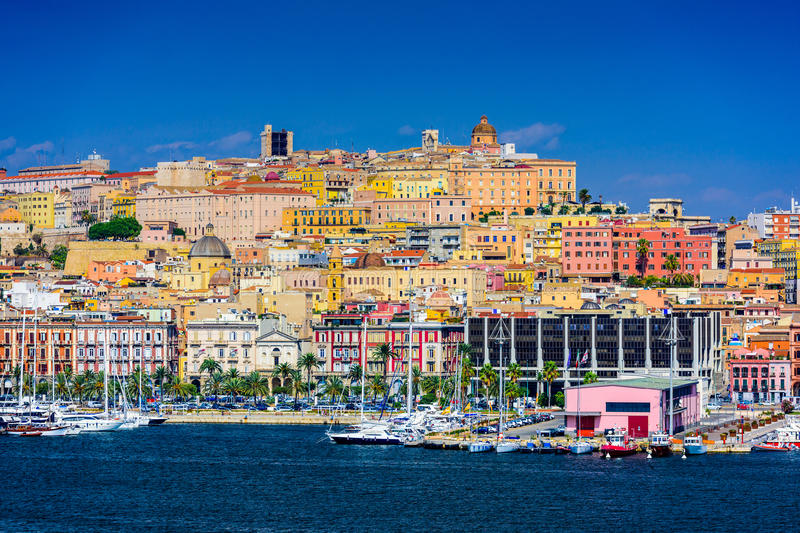Cagliari Cityscape. Cagliari, Sardinia, Italy coastal skyline on the Mediterranean Sea royalty free stock photo