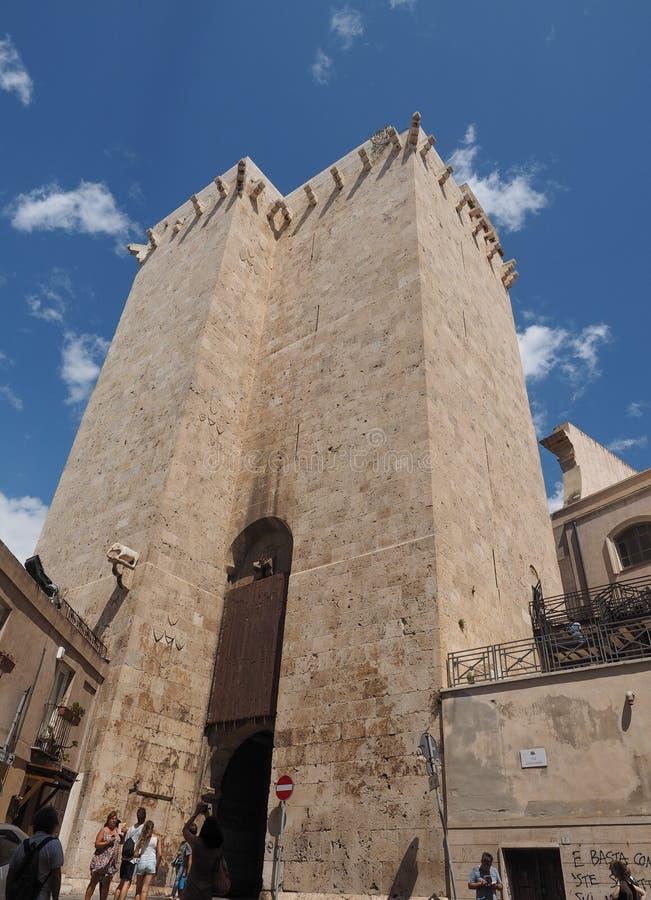 Elephant tower in Cagliari stock photo
