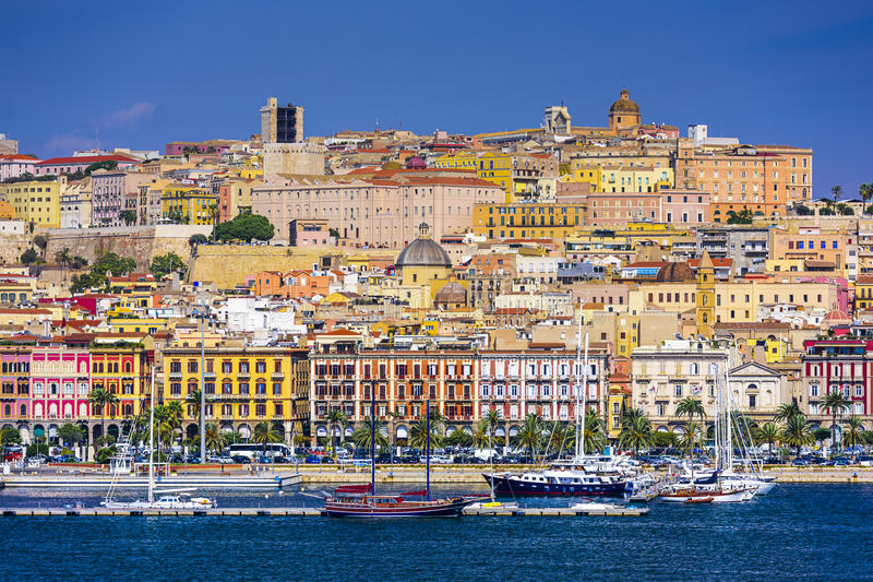 Cagliari, Italy Cityscape. Cagliari, Sardinia, Italy cityscape on the water royalty free stock photography