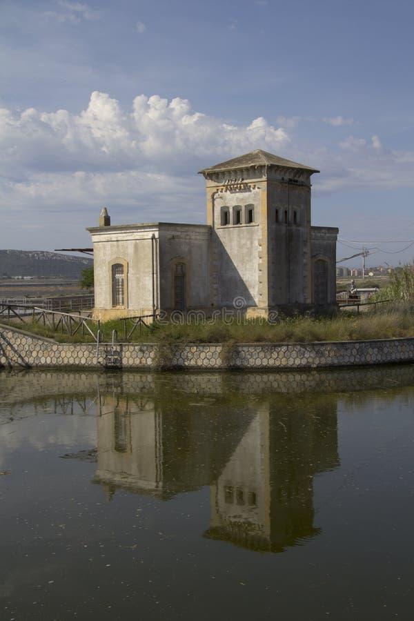 CAGLIARI, ITALY - May 5, 2012: Walk to Molentargius - Sardinia. Dewatering of Rollo within the Molentargius salt stock photos