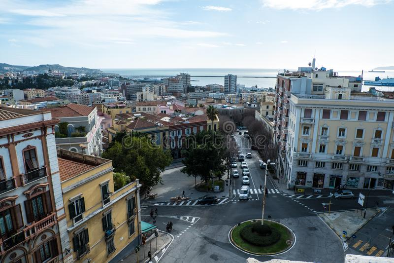 Cagliari linia horyzontu, Cagliari, Sardinia, Włochy fotografia stock