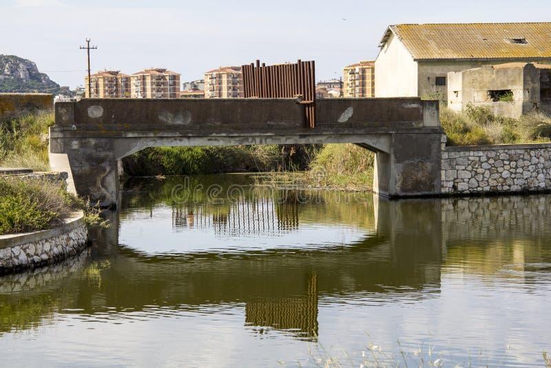 Cagliari: Molentargius Regional Park - Sardinia. Bridge and its reflection on the water channel within the Molentargius salt stock photo