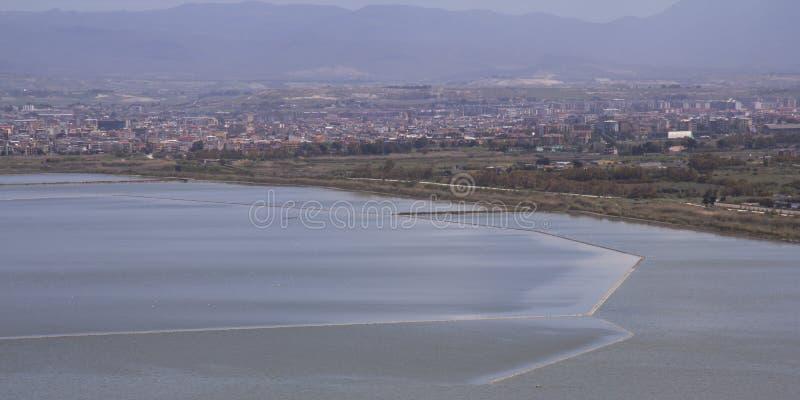 Cagliari: Panorama Molentargius, Sardinia stawowi - zdjęcia royalty free
