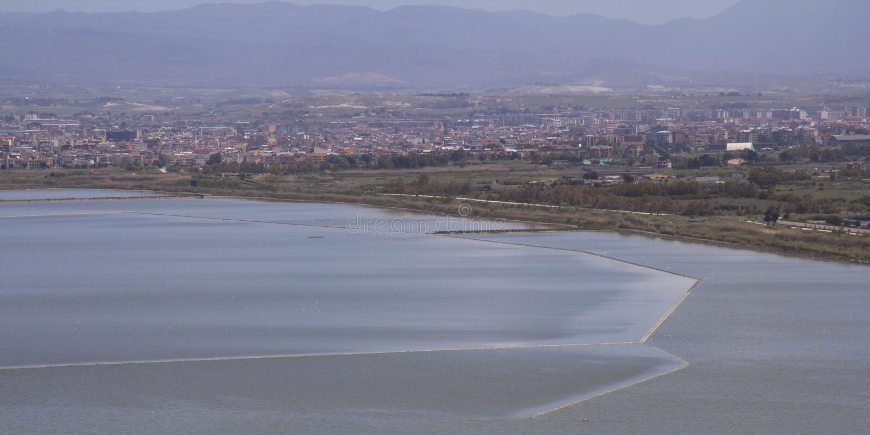 Cagliari: Panorama of the pond Molentargius - Sardinia. Molentargius pond photographed from Mount Urpinu royalty free stock photos