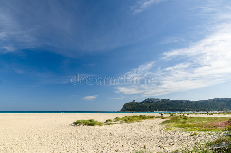 Cagliari, Poetto beach. Popular beach of Cagliari city, in the south Sardinia, Italy royalty free stock image