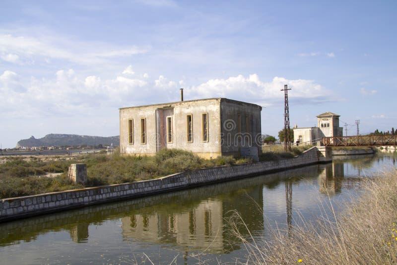 Cagliari: saline of Molentargius park - Sardinia. Flow channels within the Regional Natural Park of Molentargius stock photography