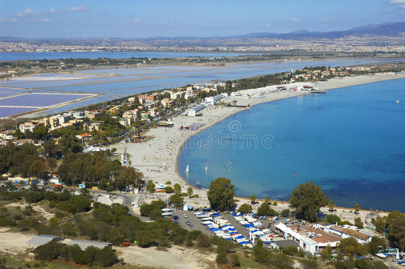 Cagliari in Sardinia. View of Poetto, Cagliari, Sardinia royalty free stock photos