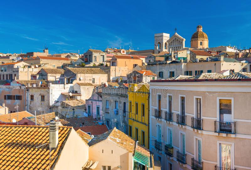 Cagliari - Sardinia, Italy: Cityscape of the old city center. In the capital of Sardinia, wide angle view from the rooftop stock photography