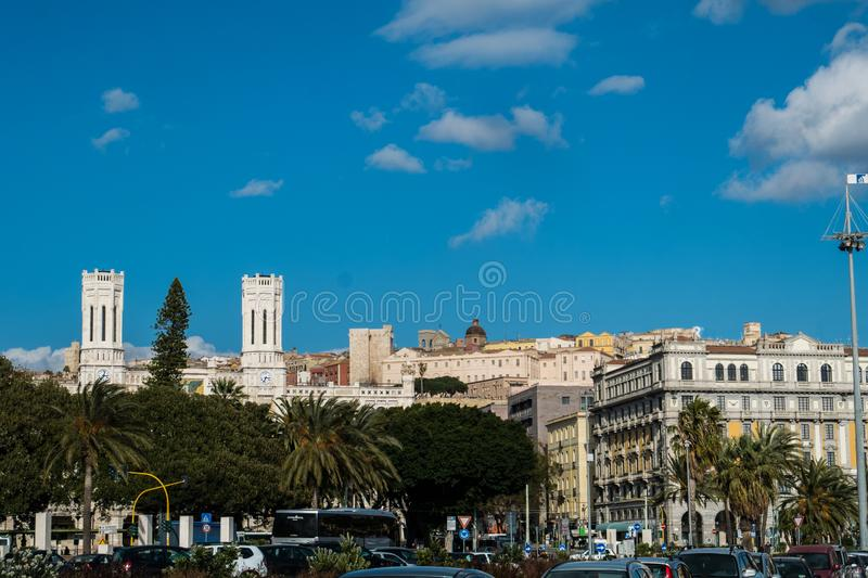 Cagliari skyline from the harbor royalty free stock photo