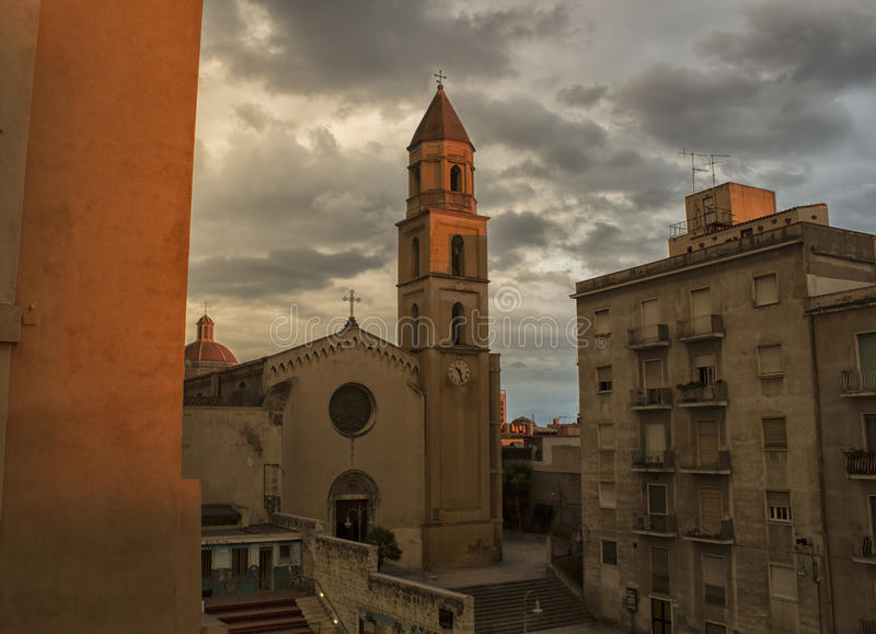 Cagliari St Augustine`s Church on Sardinia island stock images