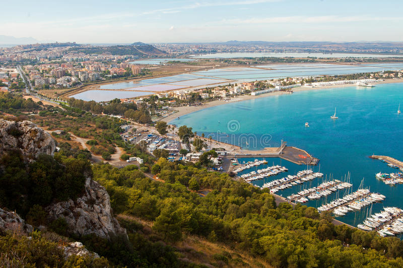 Cagliari. View of Cagliari and Poetto beach from above, Sardinia, Italy royalty free stock photography