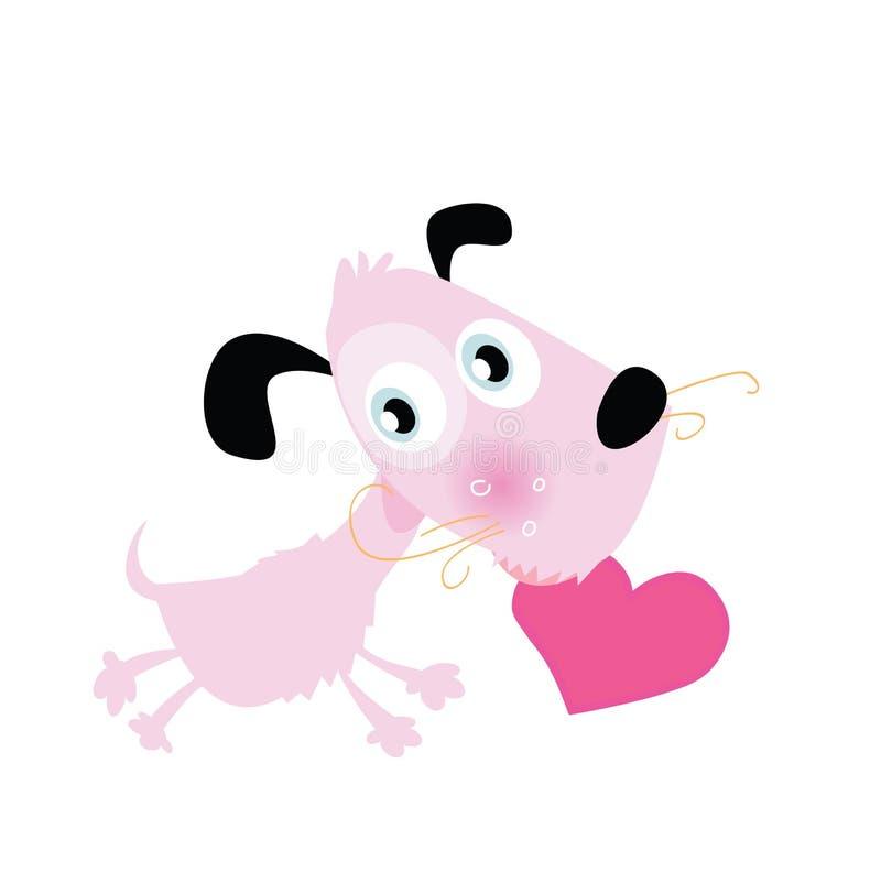 Cagnolino con cuore illustrazione vettoriale