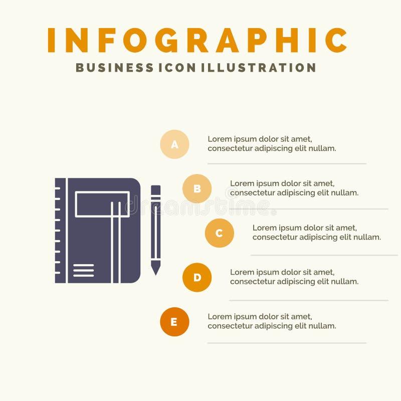 Cahier, affaires, note, bloc-notes, protection, stylo, fond solide de présentation d'étapes d'Infographics 5 d'icône de croquis illustration de vecteur