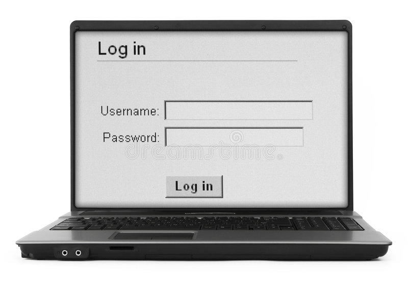 Cahier avec l'écran de procédure de connexion   photos stock