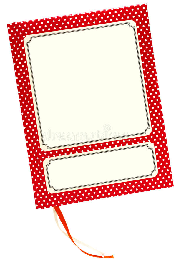 Cahier avec les points et les étiquettes blancs photos stock