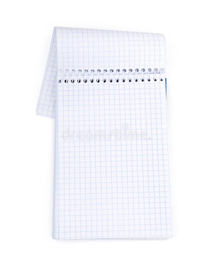 Cahier blanc d'isolement sur le blanc photographie stock libre de droits