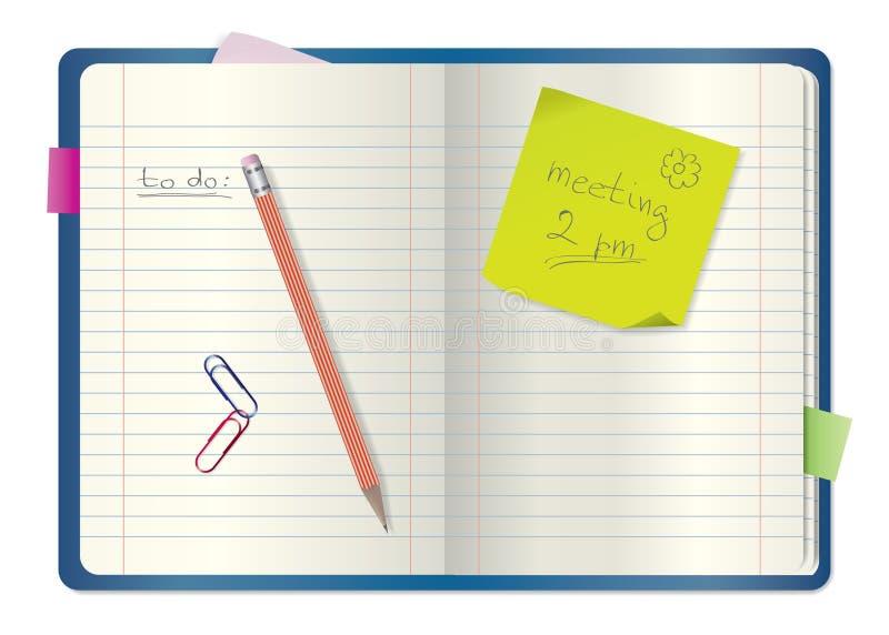 Cahier/bloc-notes avec le crayon illustration stock