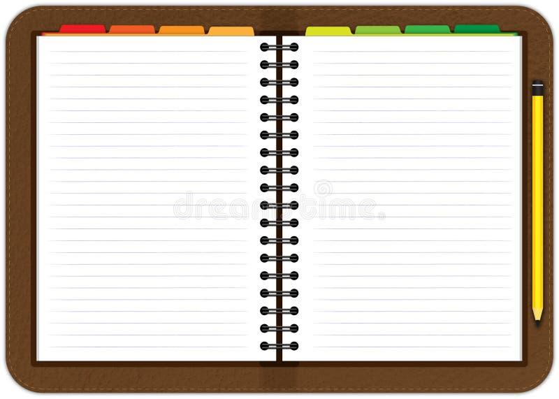 Cahier en cuir d'ordre du jour illustration libre de droits