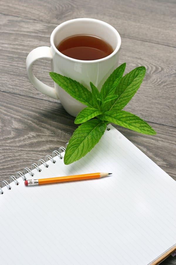 Cahier et cuvette de thé photographie stock libre de droits