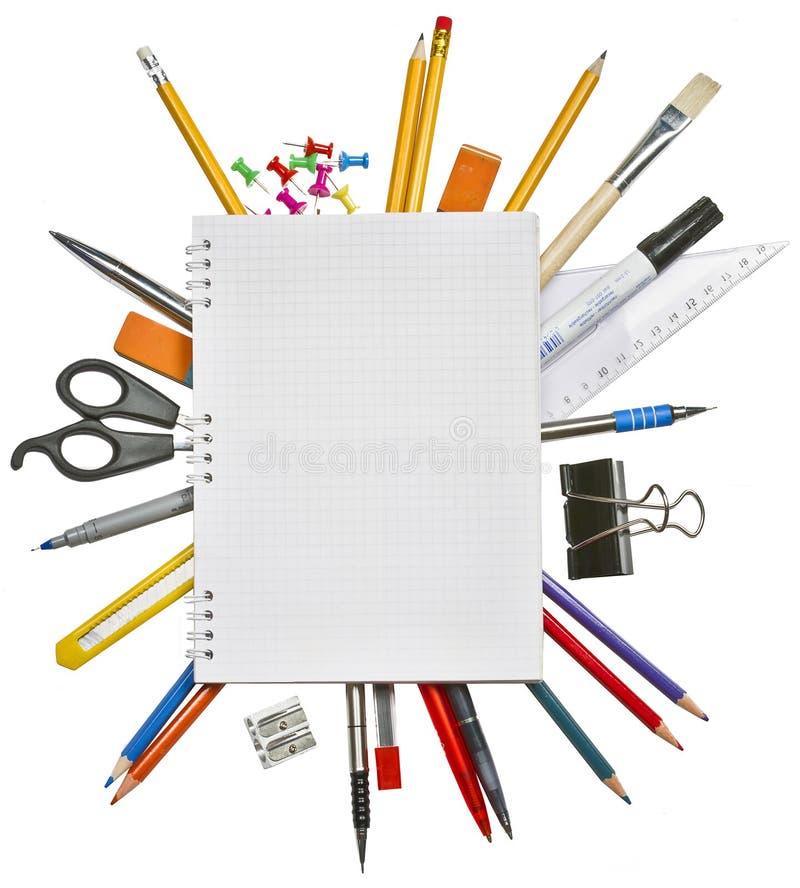 Cahier et fournitures de bureau photos stock