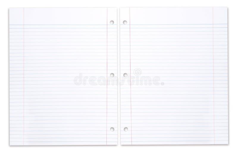Cahier spiralé d'école avec le papier rayé photo libre de droits
